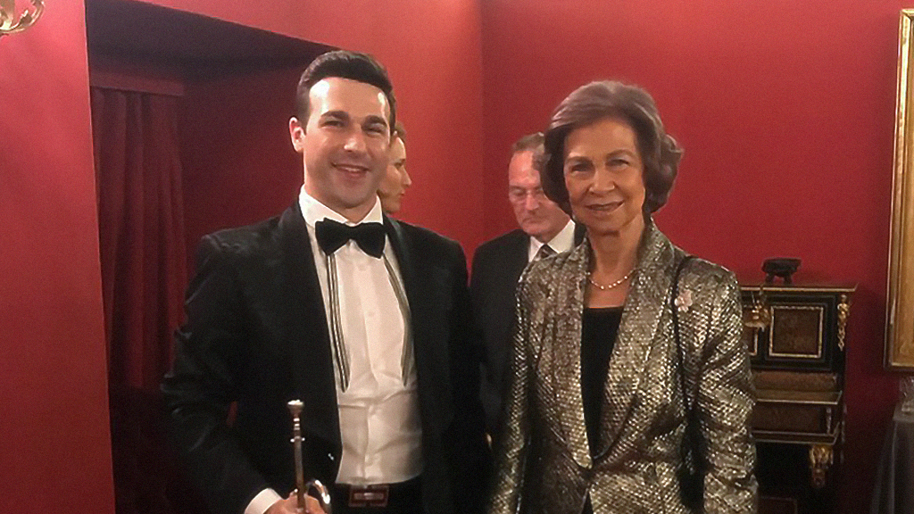 Queen Sofia and trumpeter Manuel Blanco at the Teatro Real.